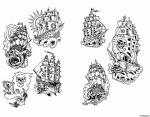 Эскиз татуировки корабля.
